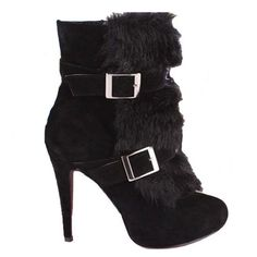 Christian Louboutin  Toundra Fur 120mm Ankle Boots Black10 on the lookout for limited offer,no taxes and free shipping.#shoes #womenstyle #heels #womenheels #womenshoes  #fashionheels #redheels #louboutin #louboutinheels #christanlouboutinshoes #louboutinworld