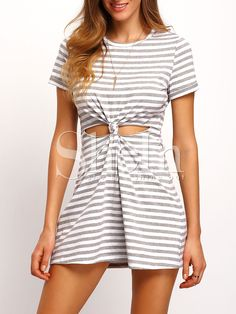 Grey+white+Stripe+Cut-out+Knotted+T-shirt+Dress+14.99