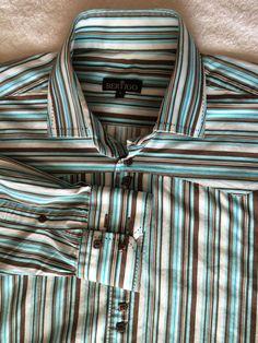 Bertigo Mens Shirt Sz 5 XL Striped Blue White Brown Long Sleeves   eBay