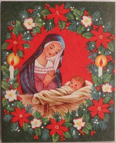 #359 50s Mary & Baby Jesus-Vintage Christmas Greeting Card