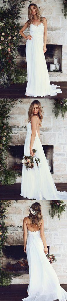 Boho Beach Wedding Dresses Sexy Summer Spaghetti Straps Open Backs Lace White Wedding Gown
