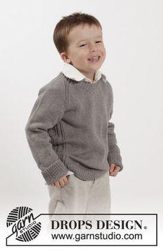 """Gebreide DROPS trui met raglan en V-hals van """"Belle"""". Maat 2-10 jaar Gratis patronen van DROPS Design."""