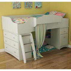 Girls room bunk bed with hideout