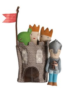 Spark a child's imagination with this adorable castle and royalty rattle collection by Danish toy company, Maileg. The Royalty Rattle Collection includes a prince rattle, princess rattle, knight rattle, and dragon rattle, along with a lovely castle to store them in.  Available as a 5-piece set or each piece can be purchased separately. Recommended age: 0-3 years.