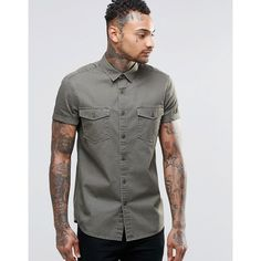 ASOS Khaki Twill Shirt With 2 Pockets And Heavy Wash In Regular Fit (99 ILS) ❤ liked on Polyvore featuring men's fashion, men's clothing, men's shirts, men's casual shirts, green, mens twill shirts, mens short sleeve pocket tee shirts, mens khaki shirt, mens casual button down shirts and mens green button down shirt