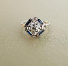 Antique bague de fiançailles  or blanc 18 carats par SITFineJewelry, $35000.00