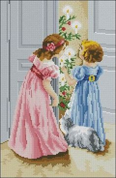 "Cross-stitch design ""Young Ladies"" I would like to call this design ""Magic of Christmas"". Pattern Name: Young Ladies Designed By: Golovanova Irina Fabric: Aida 14, White 120w X 184h Stitches Size(s): 14 Count, 21.77w X 33.38h cm 11 Count, 27.71w X 42.49h cm 16 Count, 19.05w X 29.21h cm 18 Count, 16.93w X 25.96h cm …"