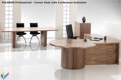 Fulcrum Office Furniture, An executive desk says a lot about the confidence and style of the person behind it. Some ideas. L Shaped Executive Desk, Executive Suites, Executive Office Furniture, Office Desk, Wooden Desk, Wooden Tables, Furniture Showroom, Furniture Design, Wood Sample