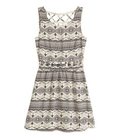 HM Dress with Cut Outs Light Beige/Patterned-25
