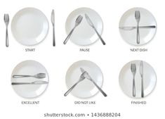 a set of realistic plates and cutlery in the form of etiquette signs isolated icons on white background language of restaurant etiquette positions of Cutlery Craft Activities For Kids, Crafts For Kids, Nature Sketches Pencil, English Word Book, Wedding Photography India, Restaurant Plates, Dining Etiquette, Etiquette And Manners, Table Manners