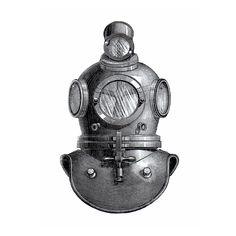 Deep Sea Diving Helmet Nautical Vintage Style Print Etsy