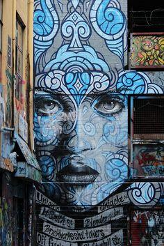 Street art in Melbourne Street Art by Phibs & Rone from It can be found in Melbourne´s famous Hosier Lane. Street Wall Art, Murals Street Art, Portrait Art, Portraits, Wall Drawing, Graffiti Wall, Dope Art, Urban Art, Female Art