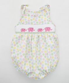 Look at this Pink & Green Elephants Smocked Sunbubble Bodysuit - Infant on #zulily today!
