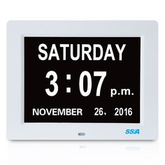 Digital Calendar Day Clock with Large Clear Time Day and Date display, Wall or & Calendar Day, Digital Photo Frame, Big Time, Flip Clock, Alarm Clock, Frames, Number, Desk, Display Wall