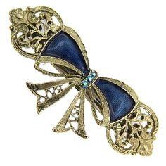 1928 Jewelry Antique Delight Aqua Blue Enamel Bow Barrette ❤ liked on Polyvore