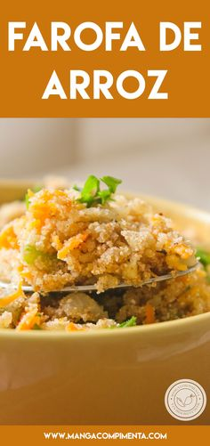 Receita de Farofa de Arroz - aproveite o feriadão de carnaval para preparar um delicioso churrasco e servir essa farofa. #receitas
