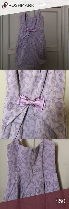 Lavender, spaghetti strap, lace dress with bow Pretty anthropologie, lavender color, with bow at waist. Anthropologie Dresses Midi