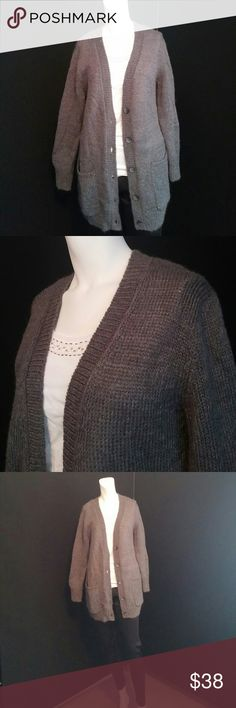 Long dark grey cardigan Very nice and Taylor long dark grey fuzzy cardigan. Excellent condition no pilling or holes.  So easy to throw on with leggings wear jeans. Cozy and comfortable for winter. Ann Taylor Sweaters