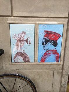 L'arte sa nuotare.  Street art Firenze. Piero della Francesca.