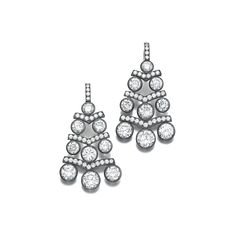 Pair of diamond earrings, Hemmerle. Each of girandole design, collet-set with tiered circular-cut diamonds alternating with chevron links set with brilliant-cut diamonds.