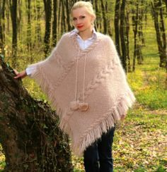 New Hand Knitted Mohair PONCHO SWEATER Fuzzy Handcrafted Cape by SUPERTANYA