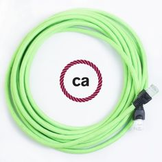 LAN-Kabel - Ethernet Cat 5e - RJ45 Rund überzogen mit Textil-Seideneffekt Einfarbig Fluo Grün RF06