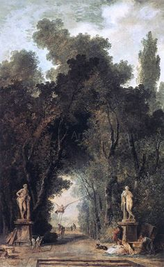 Hubert Robert Avenue in a Park - Hand Painted Oil Painting