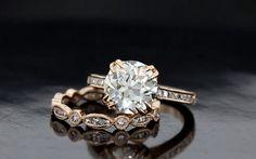 custom designed rose gold wedding set