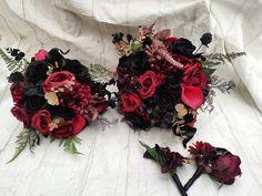 Bride Bouquets, Flower Bouquet Wedding, Bridesmaid Bouquet, Steampunk Wedding, Gothic Wedding, Black Bouquet, Shades Of Burgundy, Wedding Inspiration, Wedding Ideas