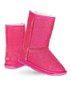 This Hot Pink Sparkle Lo Boot - Kids by EMU Australia is perfect! #zulilyfinds