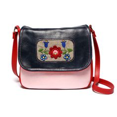 "Sweet Folk Leather Across Body Bag Red - Pink - Dark Blue / Purse / Messenger with Hand Embroidery from ""Spring Jovi"". $71.00, via Etsy."