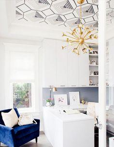 Trend for 2016 - Ceiling Wallpaper! Kriste Michelini Interiors   SF Bay Area Interior Design #wallpaper #ceiling #chandelier #midcenturymodern #velvetchair #officespace #goldchandelier #ceilingwallpaper #interiordesign #office #desk #builtin #cabinetry