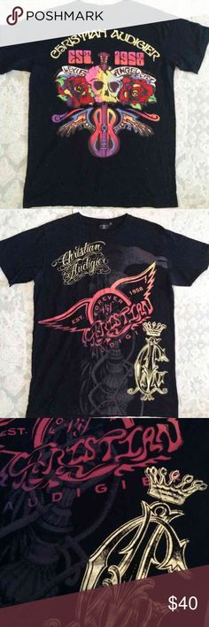 CHRISTIAN AUDIGIER Graphic T-Shirt CHRISTIAN AUDIGIER graphic short sleeve shirt in size XL.  No tears, rips or stains. In perfect condition. Christian Audigier Shirts Tees - Short Sleeve