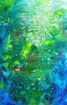 Submerged Forest - #mixedmedia #painting of Cristina Dalla Valentina www.cristinadallavalentina.com #landscape #trees #forest #art #artist #artwork #watercolor #acrylic #sea