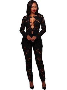 3d3c77eccc1 Plain Hollow Shirt Straight Two Piece Sets. MIXI Black White Elegant Lace  Jumpsuit Two Piece Set Long Sleeve V Neck ...