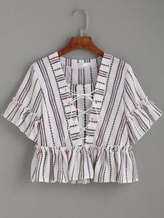 Shop White Vertical Striped Print Lace Up Ruffle Top online. SheIn offers White Vertical Striped Print Lace Up Ruffle Top & more to fit your fashionable needs. Look Fashion, Fashion Outfits, Womens Fashion, Frill Tops, Peplum Tops, Crop Tops, Ruffle Top, Ruffle Blouse, Ruffle Collar
