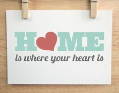 Home Is Where Your Heart Is  11x14 in Green by sugarfresh on Etsy, $30.00