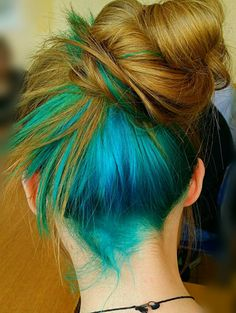 bun pretty hair dyed hair blue hair messy bun blue dye. I like how ...