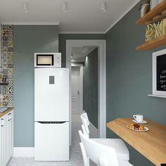 Este posibil ca imaginea să conţină: interior Kitchen Interior, Interior Design Living Room, Kitchen Design, Kitchen Decor, Sage Green Walls, Kitchen Remodel, Sweet Home, Bedroom Decor, New Homes