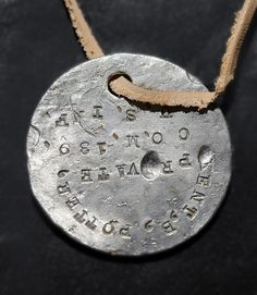 Dog tag lost in World War I returned to soldier's son Dog Tags Military, Military Love, Dog Tags Tattoo, Army Tumblr, War Dogs, Army Soldier, World War One, Lost & Found, Accessories