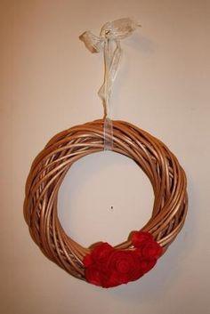 wicker wreath ring with felt flowers