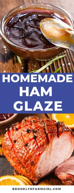 This ham glaze is delicious and simple to make. All you need is brown sugar, orange juice and honey! Mix in a bowl and brush over ham for a classic family recipe! Easy Meat Recipes, Ham Recipes, Delicious Dinner Recipes, Cooking Recipes, Recipies, Homemade Ham Glaze, Easy Ham Glaze, Ham Glaze Brown Sugar, Pork Ham