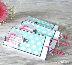Ziehverpackung Schokolade Milka Stampin' Up! Polka dots jade Wassermelone tutorial