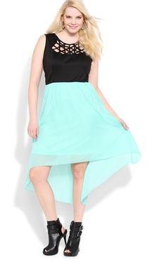 Plus Size High Low Dress with Lattice Neckline
