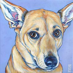 """Marlie the German Shepherd and Yellow Lab Mixed Breed Dog Custom Pet Portrait Painting in Acrylic Paint 8"""" x 8"""" Canvas from Pet Portraits by Bethany. #dogart #petportrait #puppied"""