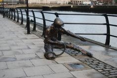 The Linesman sculpture, by Dony MacManus, commemorates the tradition of docking in the area,City Quay,Dublin Docklands Bronze Sculpture, Public Art, Dublin, Custom Homes, Celtic, Ireland, Irish, Wanderlust, France