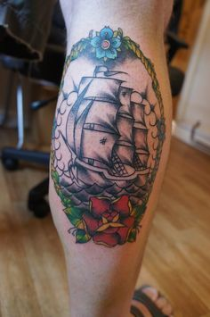 Old school traditional ship tattoo