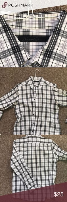 Men's size medium Kenneth Cole plaid shirt - grey, black and white  - worn 1-2 times  - non smoking house - shirt looks new  - great with dark denim or as a casual weekender Kenneth Cole Shirts Casual Button Down Shirts