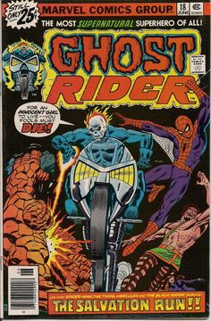 Marvel Comics GHOST RIDER #18 Supernatural Cult Hero The CHAMPIONS Tony Isabella Frank Robbins Thing Spiderman Hercules Black Widow Angel