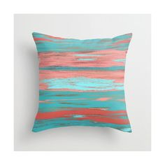 Coral Teal Throw Pillow Cover Aqua Light Coral Abstract Ombre Modern... ($25) ❤ liked on Polyvore featuring home, home decor, throw pillows, decorative pillows, home & living, home décor, silver, teal accent pillows, zip screen and outdoor toss pillows